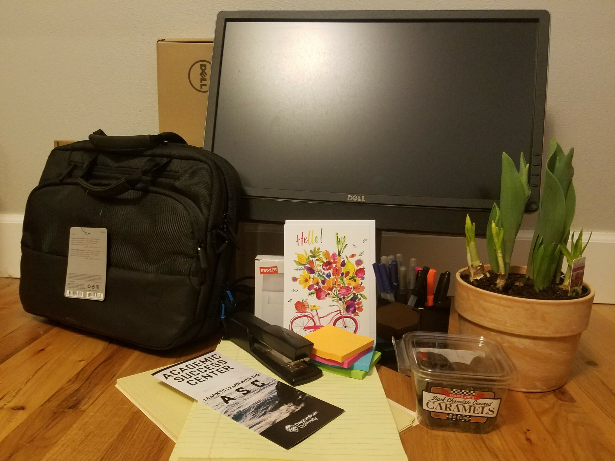 Photo of a welcome package including a laptop, pens, paper, chocolate, and a plant