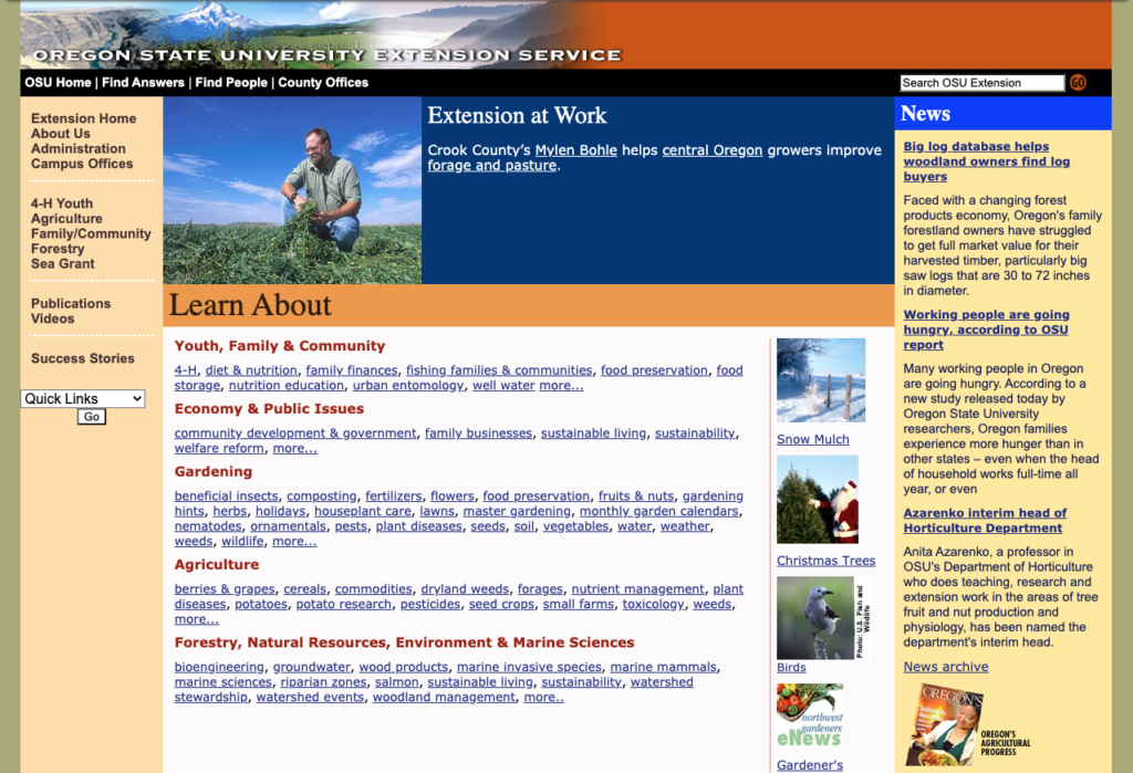 OSU Extension homepage circa 2003