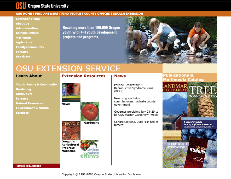 OSU Extension homepage circa 2006