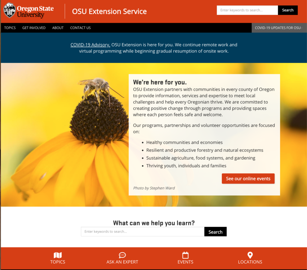 OSU Extension homepage 2020