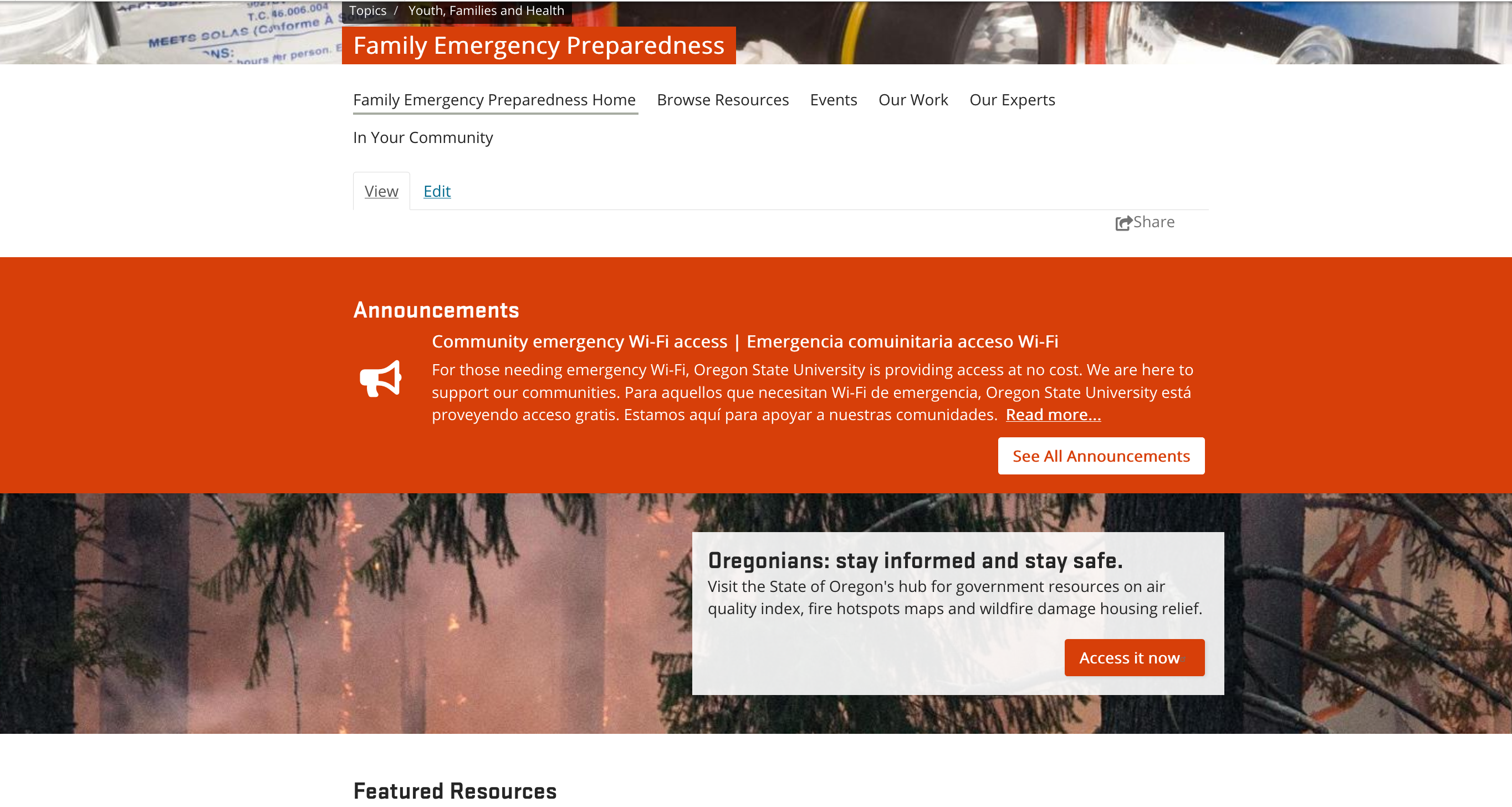Family Emergency Preparedness topic page with announcement about community emergency Wi-Fi access and a call to action box for Oregonians to stay safe and informed with link to State of Oregon resource hub