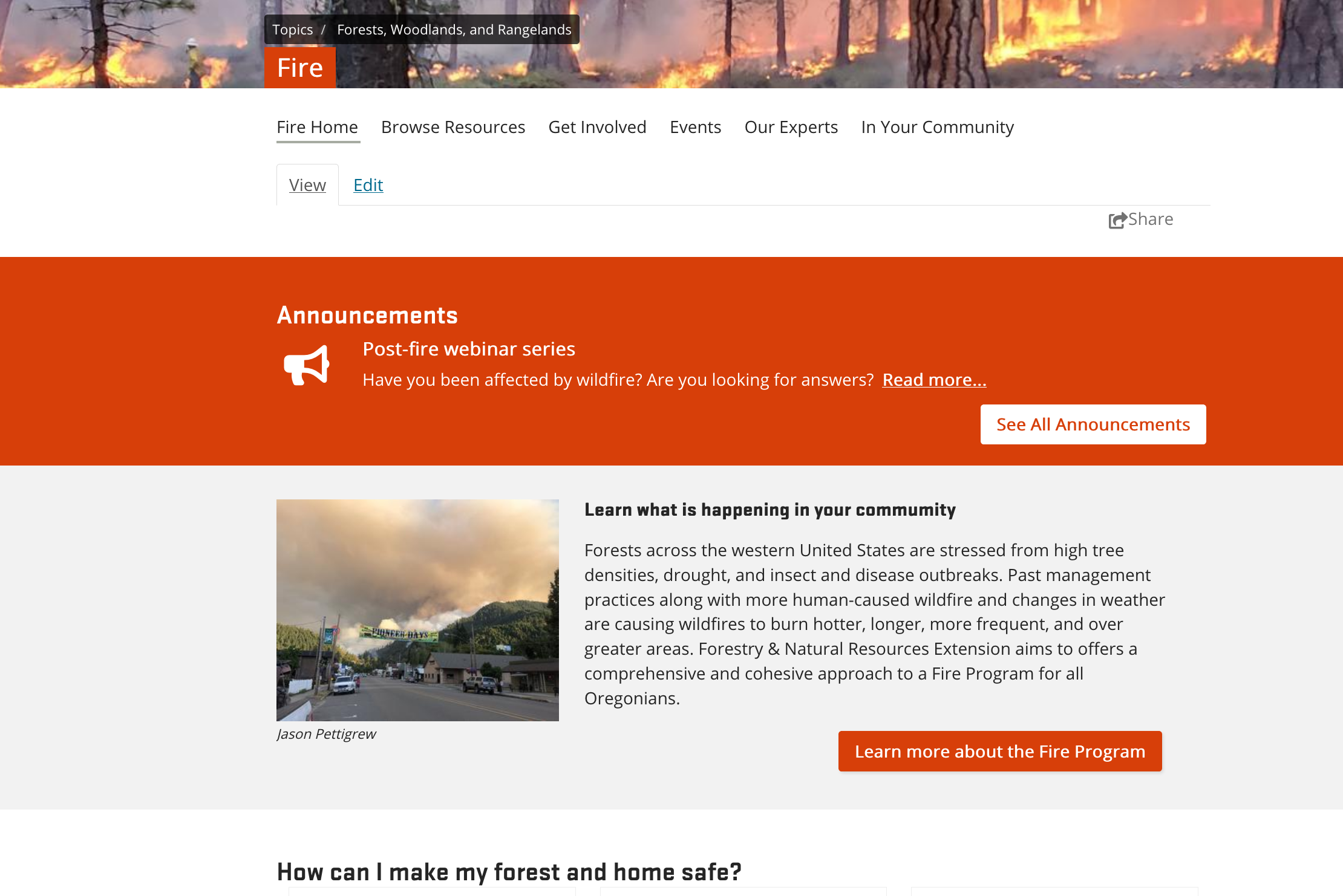 "Fire topic page with Announcement about Post-Fire Webinar Series and below that a call to action box ""Learn what is happening in your community"" with link to the Fire Program"