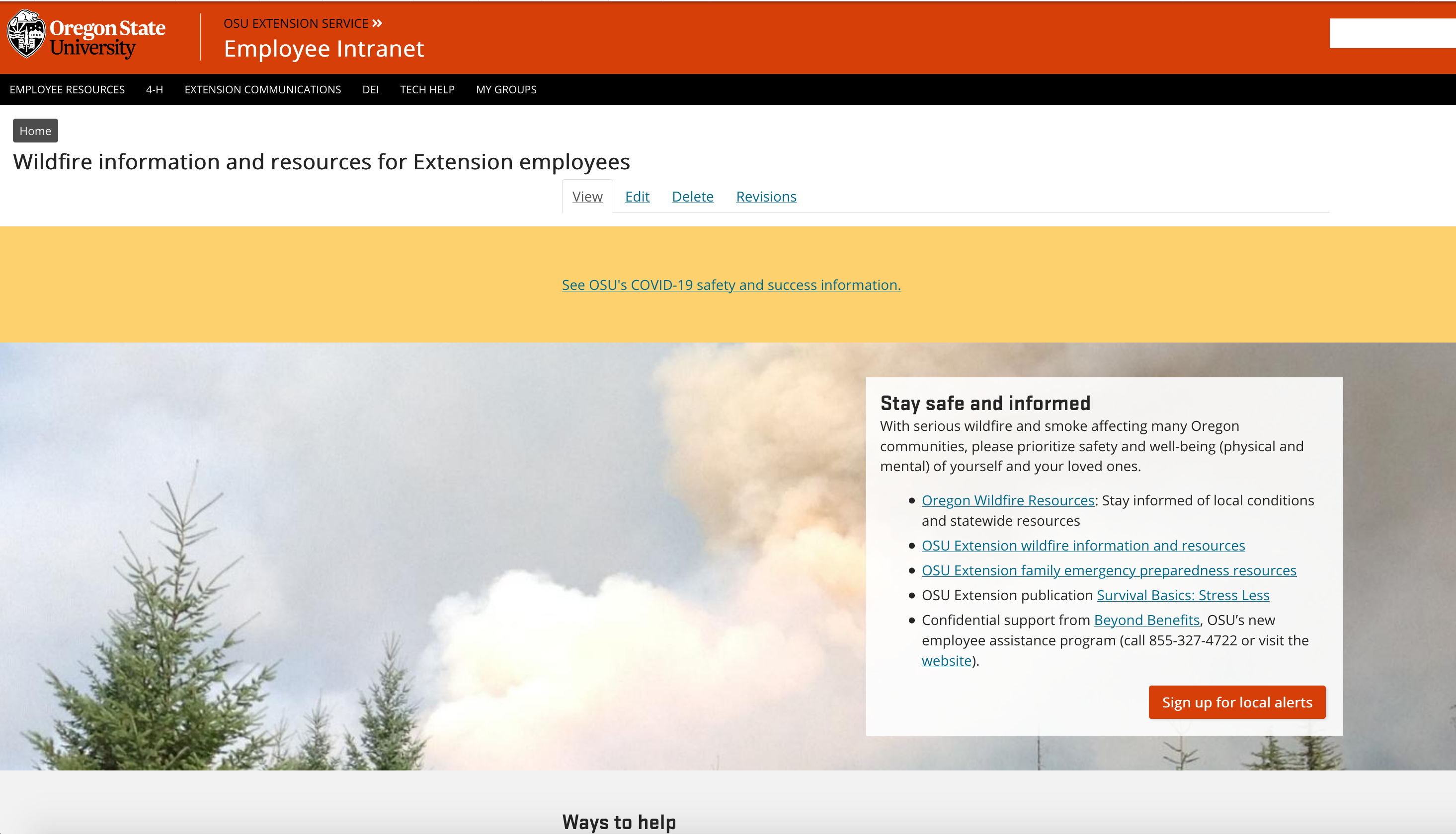 "Top page of the Employee Intranet Wildfire Information - shows smoke image with box with link under heading ""Stay safe and informed"""