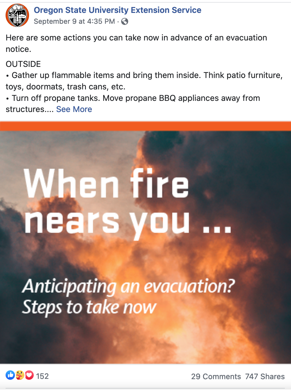 "Post with infographic ""When the fire nears you... Anticipating an evacuation? Steps to take now"" with steps listed. Shared 747 times and 29 comments."