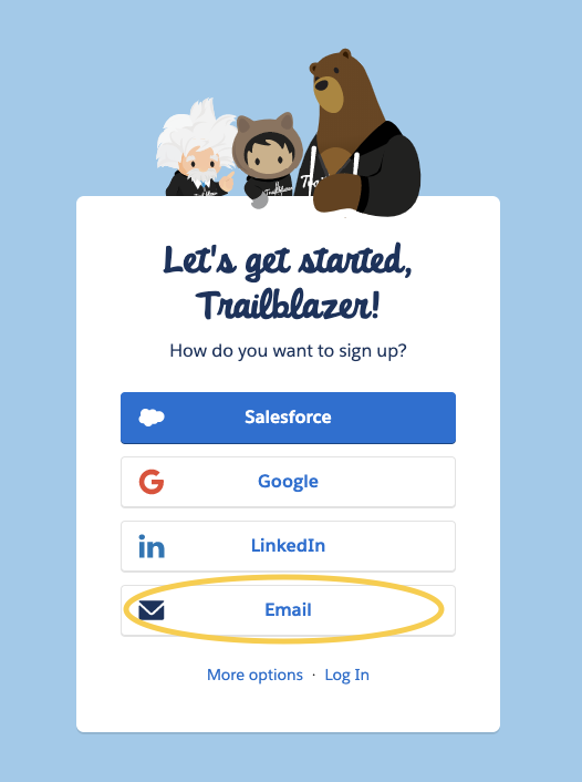 Example of one of the screens seen when signing up for Trailhead