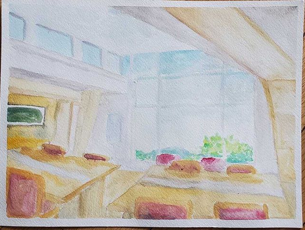 Watercolor painting of a brightly lit room with floor to ceiling windows on the far wall, two light wooden tables placed side by side, with four wooden chairs with red seats and backs per table. Greenery is visible outside the windows, and there is a painting with green hanging on the wall.