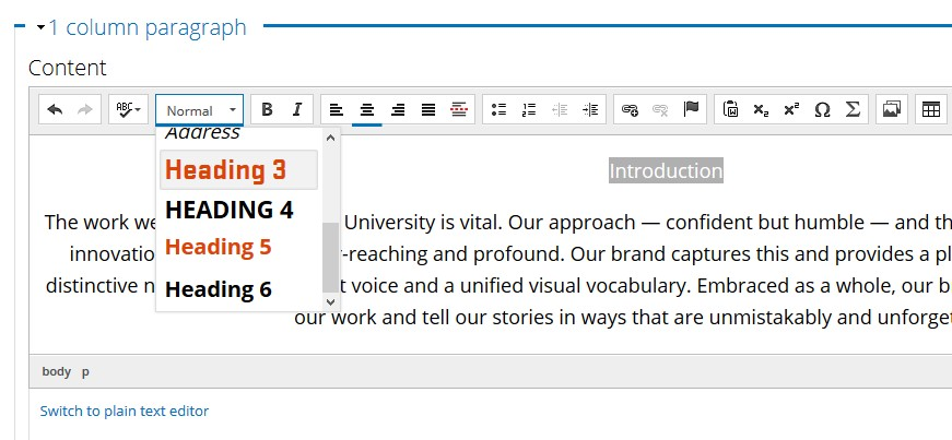 screenshot of text editor in Drupal to change headings