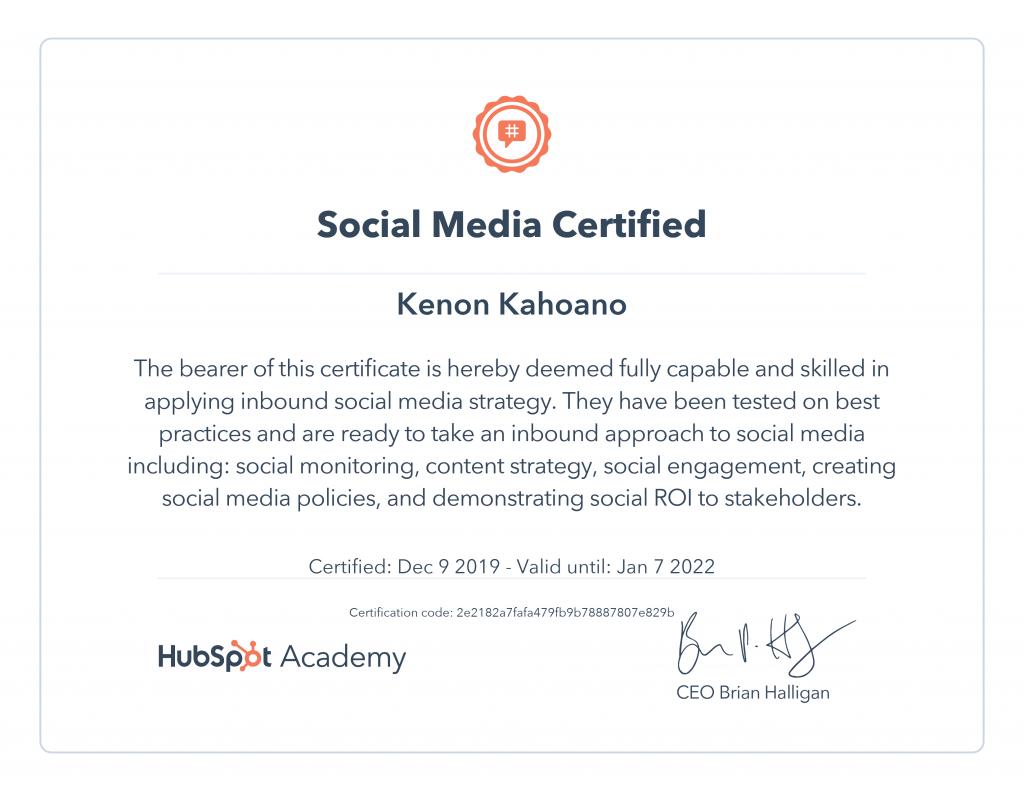 marketing certification digital certificate social completed ba