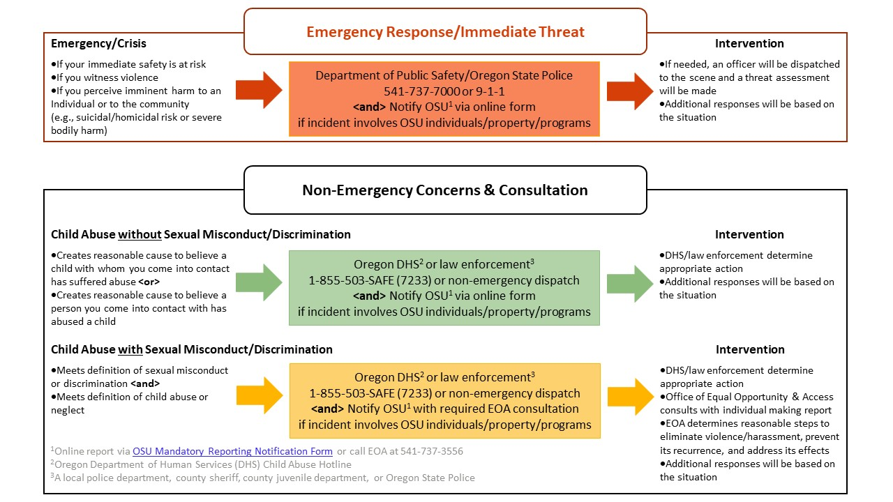 description of emergency and non-emergency response to instances of suspected child abuse