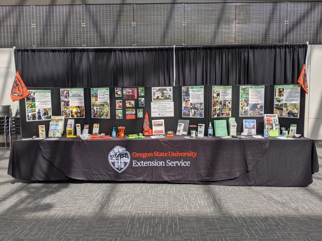 The OSU Extension - Lane County table at the fair.