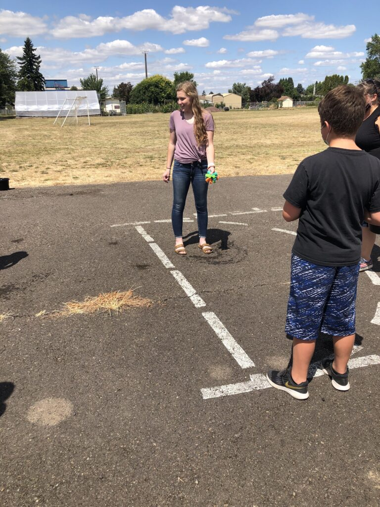 A water activity at an elementary school.