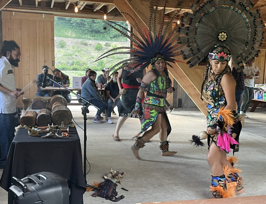 Hueca Omeyocan, a group that performs traditional Aztec dances.