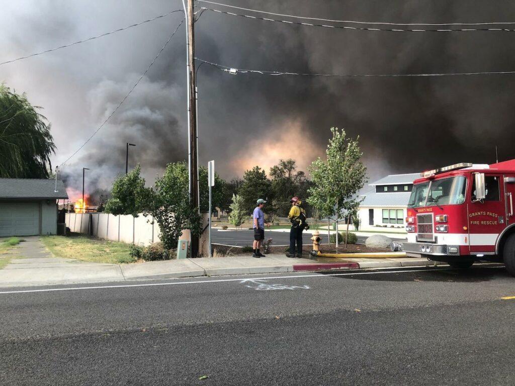 The Almeda fire burns homes in Talent, Oregon, on Sept. 8, 2020.
