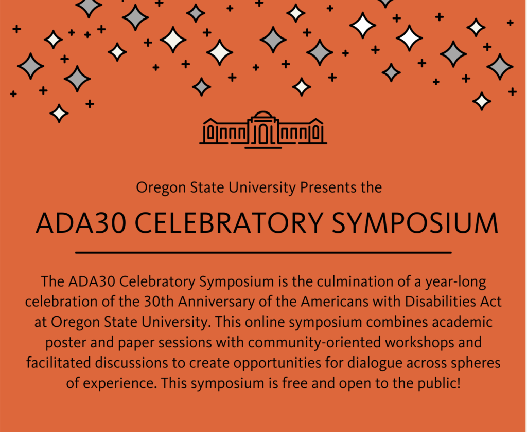 This is a flyer for the ADA30 Symposium. te and gray stars at the top, with an icon of OSUs Memorial Union.