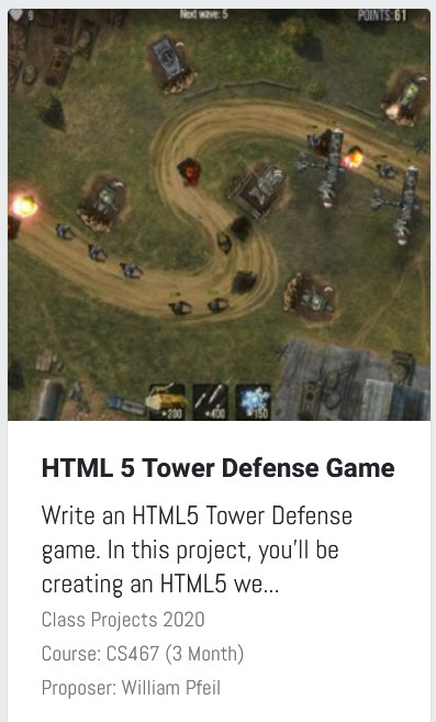 Tower defense game proposal