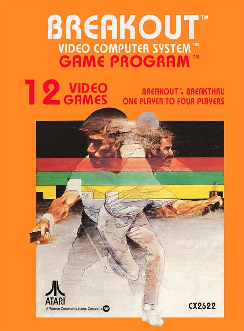 1970s-era game art for Atari Breakout featuring an illustration of two athletes playing racquetball or tennis, superimposed over rainbow-color geometric bars
