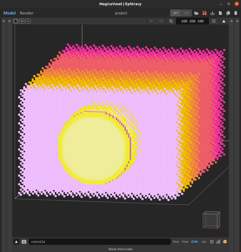 Screengrab of MagicaVoxel editor showing voxel layers spread across the y-axis, where each layer contains cells with x and z coordinants distinct from its neighbors, displayed in a colorful gradient of pinks and yellows.