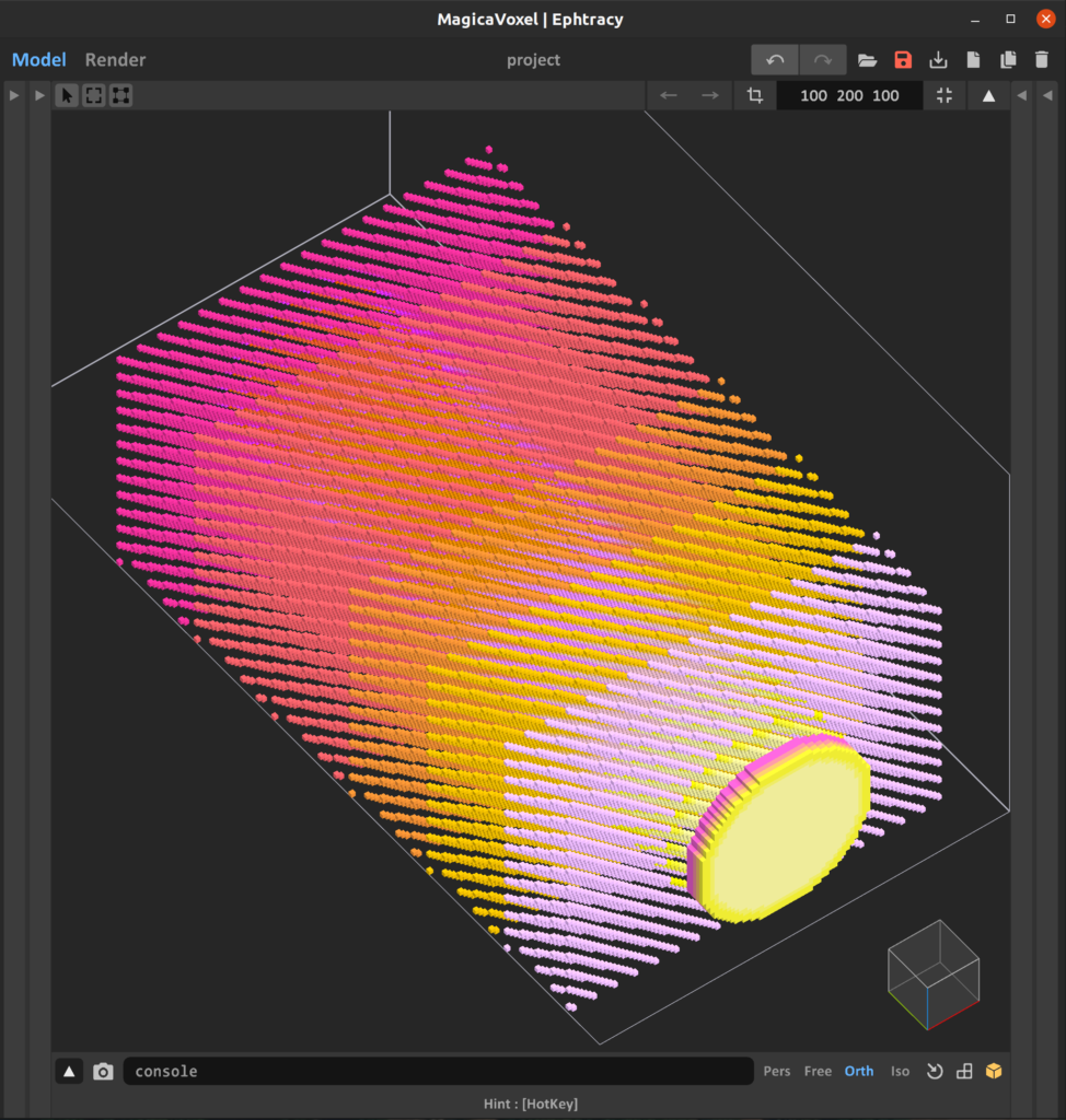 Screengrab of MagicaVoxel editor showing voxel layers spread across the y-axis, where each layer contains cells with the same x and z coordinants as its neighbors, displayed in a colorful gradient of pinks and yellows.