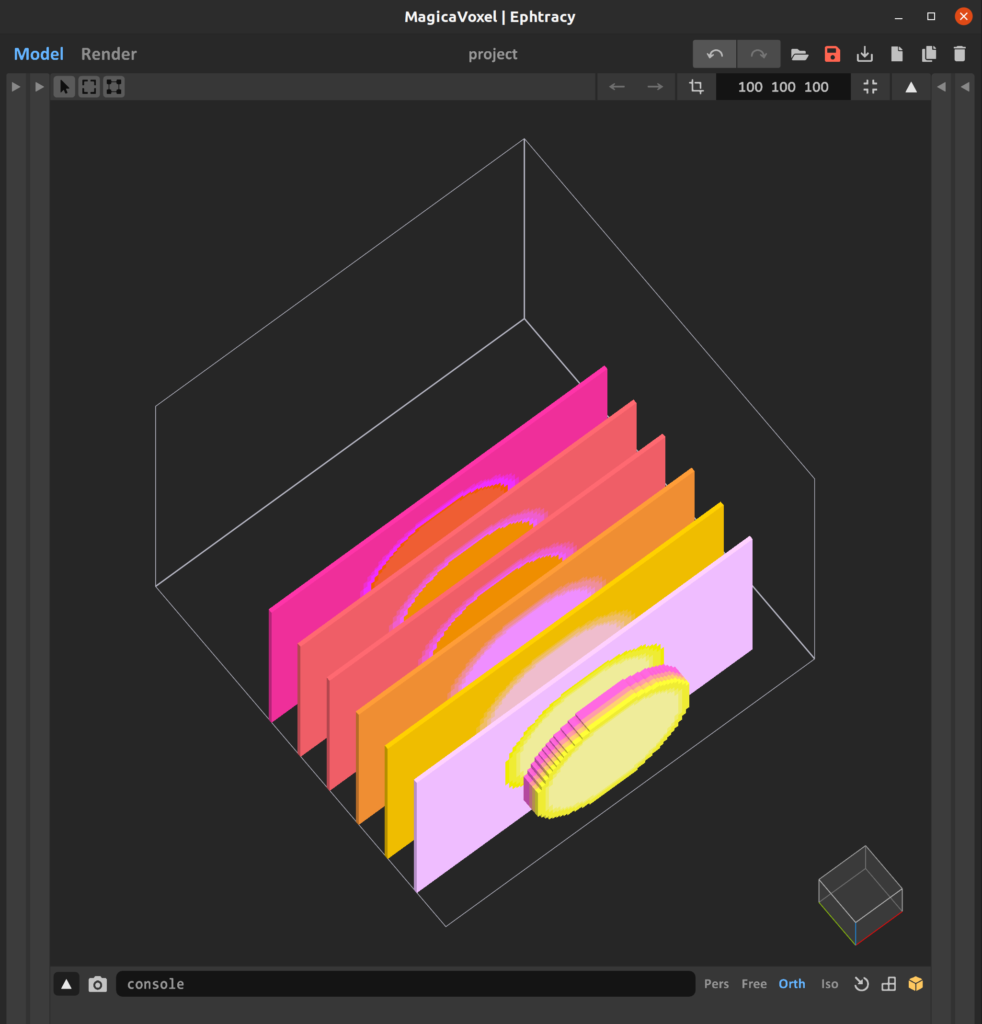 Screengrab of MagicaVoxel editor showing several solid voxel layers across the y-axis, displayed in a colorful gradient of pinks and yellows.