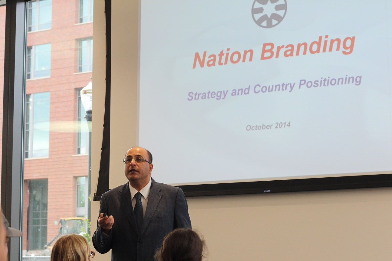 Israeli diplomat Ido Aharoni told an Austin Hall audience that if a nation doesn't brand itself, someone else will.